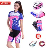 魅力女款夏季骑行服短袖套装 自行车骑行服短上衣短裤套装