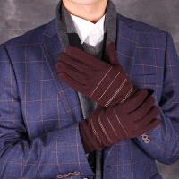 男士加绒手套冬季韩版户外运动骑行触屏手套开车保暖手套
