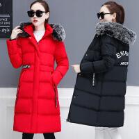 棉衣女中长款2017新款冬装宽松羽绒韩版大毛领外套