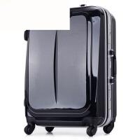 商务拉杆箱万向轮铝框行李箱旅行箱包男女登机箱20寸24寸28寸 黑色 20寸