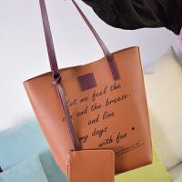 包包女冬季新款韩版子母大包包休闲百搭单肩包大气简约手提包 棕色