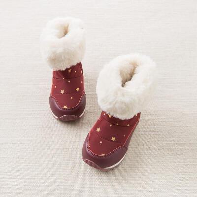 davebella戴维贝拉冬季鞋子 女童加绒保暖棉靴DB5536戴维贝拉 每周二上新  0-6岁品质童装