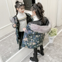 时髦儿童中长款碎花棉衣韩版小女孩洋气女童棉袄冬装