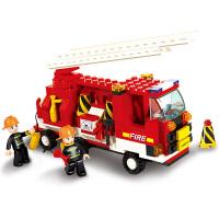 【当当自营】小鲁班模拟城市系列儿童益智拼装积木玩具 119消防中心-消防车M38-B3000