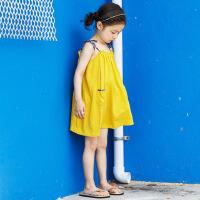 韩版儿童沙滩裙女童海边度假连衣裙宝宝吊带短裙中大童无袖公主裙