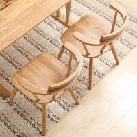 实木椅子 白橡木家用电脑椅 北欧简约扶手休闲椅日式餐椅书桌椅 白橡木餐椅单把(原木色)