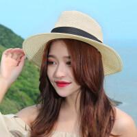 草帽女夏天韩版百搭礼帽子遮阳帽可折叠沙滩帽防晒太阳帽渔夫盆帽 可调节