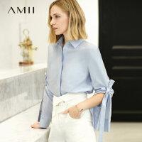 【到手价:136元】Amii极简设计感欧货潮chic衬衫女2019春新POLO长袖宽松纯棉上衣