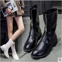 春季新款前拉链英伦风马丁靴欧美粗跟女骑士靴复古中筒短靴女