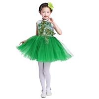 元旦儿童演出服大合唱公主裙凤尾蓬蓬纱裙舞蹈服小学生大合唱服