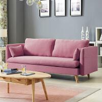 粉色北欧小户型风布艺沙发简约双人三人客厅可拆洗沙发组合