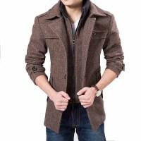 男装韩版修身中长款呢料男式大衣立领修身9891    棉服