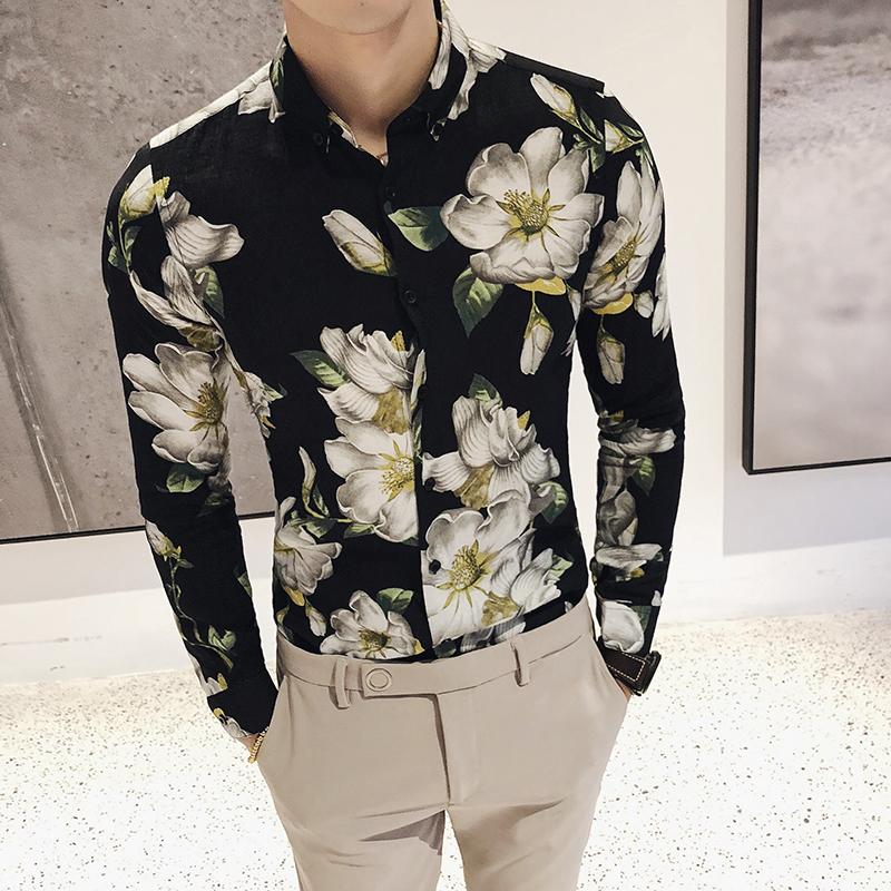 春季花色修身2018新款衬衫 时尚立体印花修身长袖发型师衬衣 发货周期:一般在付款后2-90天左右发货,具体发货时间请以与客服协商的时间为准