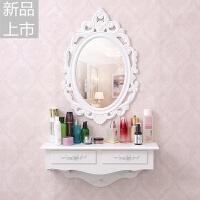 韩欧式壁挂梳妆台镜迷你卧室小户型现代简约白色田园化妆台梳妆桌定制 组装