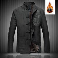 中国风男士冬季加绒加厚唐装盘扣夹克加肥加大码中老人爸爸装外套