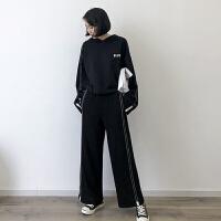 套装 女士印花字母运动套装2020秋季新款韩版时尚女式休闲洋气连帽衫+裤子女装两件套