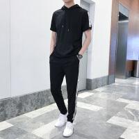 夏季男装短袖t恤青少年男孩高中学生夏装长裤短袖运动一套装