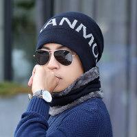 韩版百搭围脖一体毛线帽子男 青年户外加绒加厚针织帽 新款男士保暖帽子