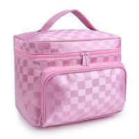 水洗化妆包收纳包大容量防水便携化妆品收纳包旅行整理洗漱包 乳白色 大号升级粉色方格