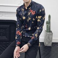 春装潮男长袖印花衬衫韩版修身时尚个性衬衣英伦发型师夜店打底衫