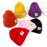 儿童毛线帽韩版新款简约保暖男童女童针织帽户外运动套头帽潮