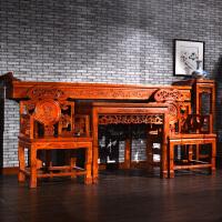 实木仿古家具榆木香案条案太师椅灵芝中堂供桌四件套六件套 整装