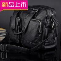 男士手提包横款真皮大容量男包单肩包商务斜跨公文15.6寸电脑包包 黑色