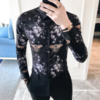 春季个性男士大码印花衬衫男长袖薄款夜店修身发型师韩版衬衣