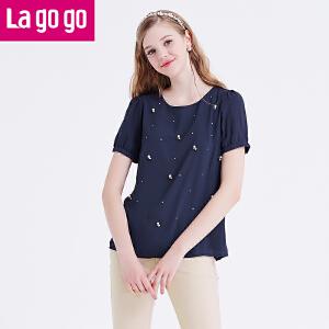 lagogo拉谷谷夏季新款纯色镶钻钉珠浪漫女孩上衣