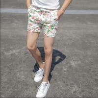 夏季新款男士休闲印花短裤潮青年韩版夜店紧身花色三分裤男装裤