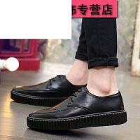 男士休闲鞋夏季皮鞋布洛克英伦风复古雕花韩版潮流商务休闲皮鞋厚底增高婚鞋子潮