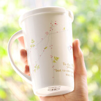 创意陶瓷带盖勺杯子骨瓷情侣马克杯办公室喝水杯咖啡牛奶杯大容量