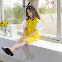 儿童夏天裙子韩版时尚2018新款中大童洋气泡泡袖连衣裙 公主女童