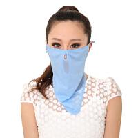 意构女款夏季防晒口罩防晒透气护颈防尘口罩面罩骑行面纱 悠远天蓝