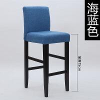 吧台椅实木现代简约欧式酒吧椅创意高脚椅靠背椅子北欧家用高脚凳