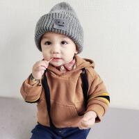 男童加绒连帽卫衣冬装儿童韩版拼袖上衣1 -5岁宝宝保暖纯棉衣服潮