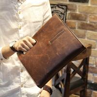 2018男士斜挎包包手提包复古包斜跨韩版包商务休闲男包单肩包 2件送手包