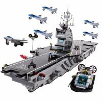 启蒙军事航母乐�犯呋�木10儿童拼装模型6-8-12岁男孩子拼插玩具航空母舰积木礼物