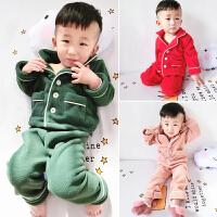 冬季儿童加厚睡衣两件套装123-4岁5男女童摇粒绒家居服女宝宝套装