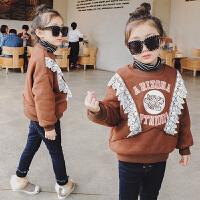女童加绒卫衣2017冬装新款童装儿童上衣蕾丝加厚保暖套头绒衫外套