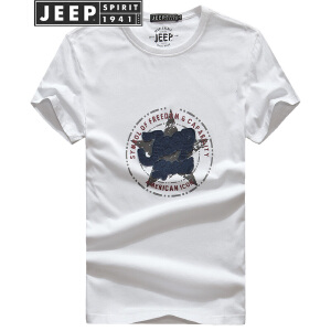 JEEP吉普男士印花短袖T恤2018夏装薄款全棉贴布半袖t恤圆领字母打底衫