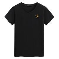 V领短袖男士T恤 新款汗衫男装 兰博基尼印花T恤