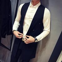 男士韩版修身无袖风衣夜场潮男时尚马甲发型师中长款薄款潮流外套