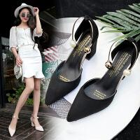 夏季尖头高跟鞋粗跟包头女鞋中空性感珍珠凉鞋潮