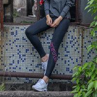 夏季休闲夜跑运动裤女户外跑步健身裤瑜伽速干弹力紧身裤 黑色