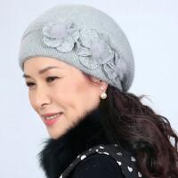 女士兔毛三朵花毛球帽子 中老年女帽加厚毛线帽子 新款保暖老人帽韩版双层兔毛妈妈帽子