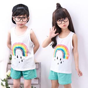 乌龟先森 儿童背心套装 男女童棉质圆领无袖卡通背心夏季韩版新款时尚中小童款两件套装