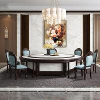 新中式大圆桌饭店桌椅仿大理石电磁炉火锅桌电动餐桌20人位酒店饭店火锅桌