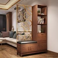 北欧入门玄关柜实木新中式鞋柜现代简约 屏风 客厅间厅柜门厅酒柜 组装