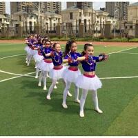 儿童啦啦操演出服爵士舞 女童啦啦队表演服幼儿园啦啦操表演服装 弹力蓝色女款上衣+裙子+头饰 女款